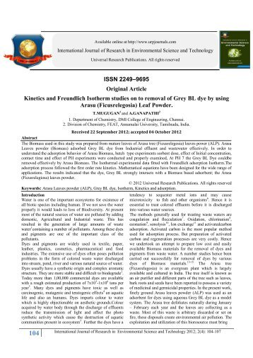 ISSN 2249–9695 Original Article Kinetics and Freundlich Isotherm ...