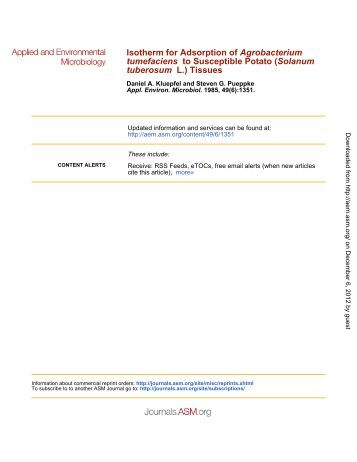 Isotherm for Adsorption of Agrobacterium tumefaciens to Susceptible ...