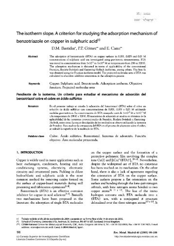 The isotherm slope. A criterion for studying the adsorption ...