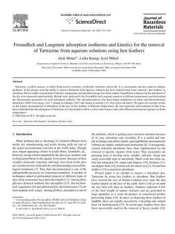 Freundlich and Langmuir adsorption isotherms and kinetics for the ...