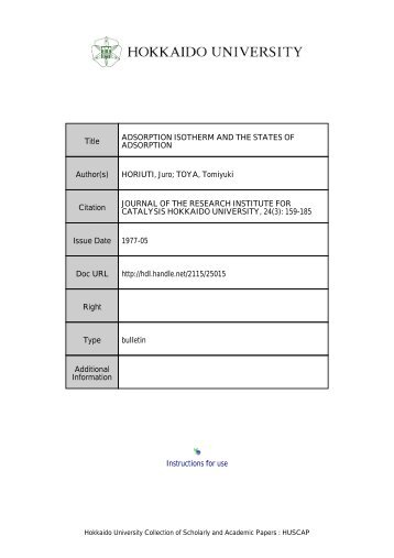 ADSORPTION ISOTHERM AND THE STATES OF ADSORPTION