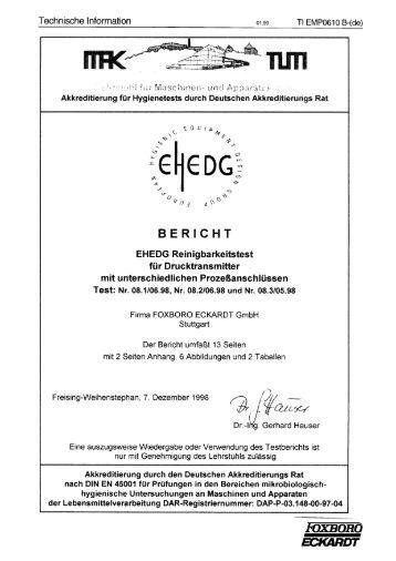 Tests nach EHEDG - FOXBORO ECKARDT GmbH