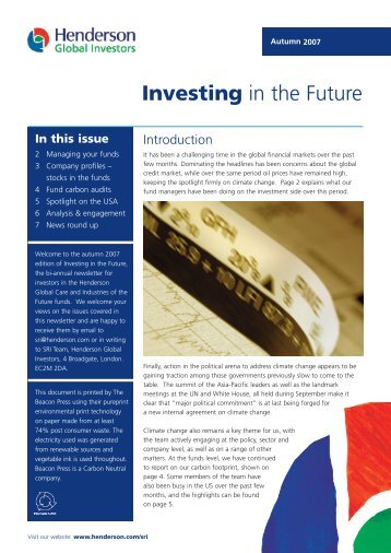 Investing in the Future - Henderson Global Investors