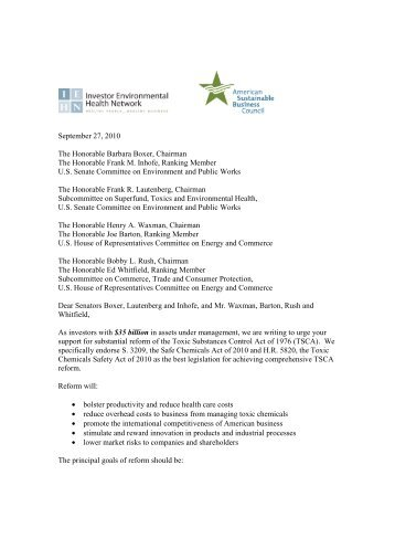 TSCA Investor Letter 9-27-10 final - Henderson Global Investors