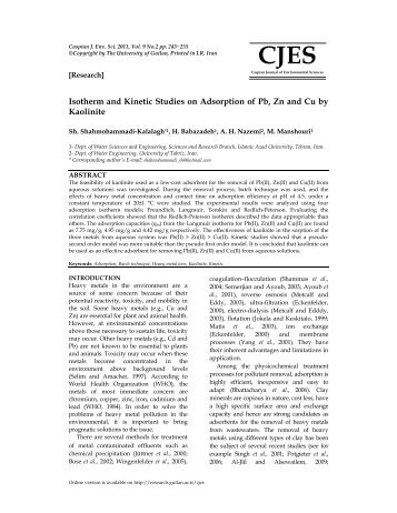 Isotherm and Kinetic Studies on Adsorption of Pb, Zn and Cu by ...