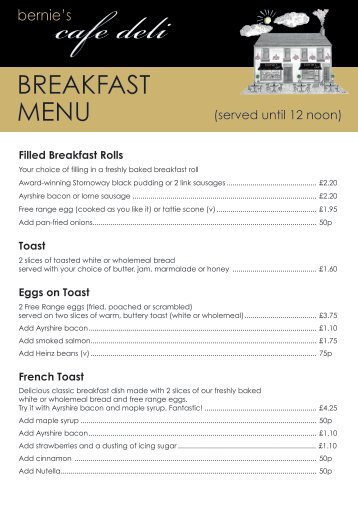 Bernie's Cafe Deli Breakfast Menu