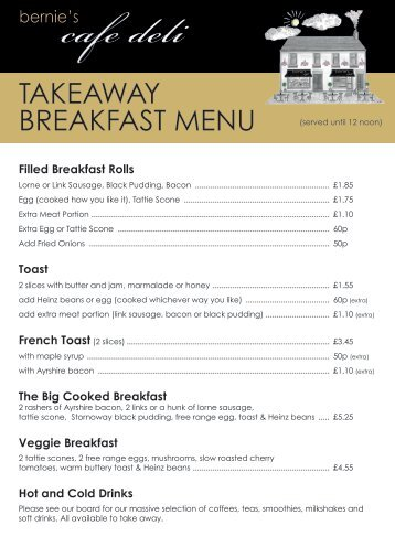 Bernies Cafe Deli Takeaway Menu