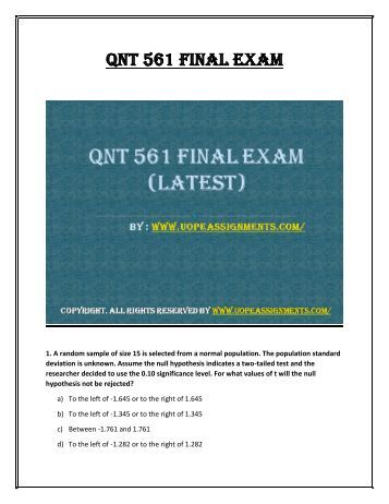 uop qnt 561 week 1 problem set Attachments: qnt 561 week 1 individual practice problems (chapter 2 and 4)(uop course)docx [ preview here ] qnt 561 new week 1 individual my statslab problem set.