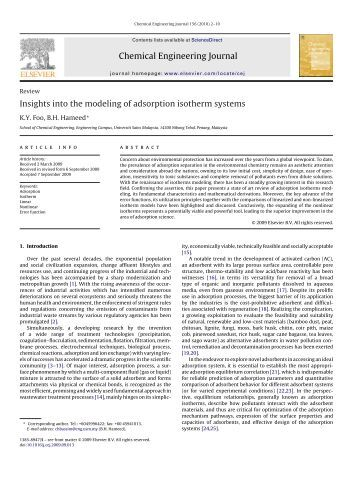 Insights into the modeling of adsorption isotherm systems