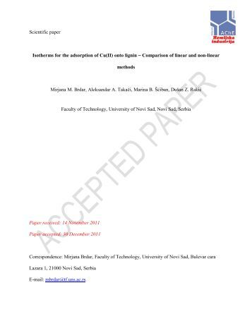 Scientific paper Isotherms for the adsorption of Cu(II ... - doiSerbia