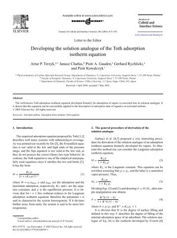 Developing the solution analogue of the Toth adsorption isotherm ...