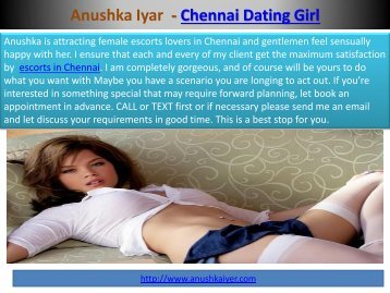 Anuska Iyer Chennai escorts services