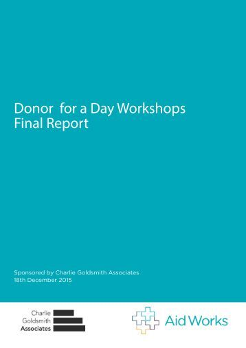 Donor for a Day Workshops Final Report