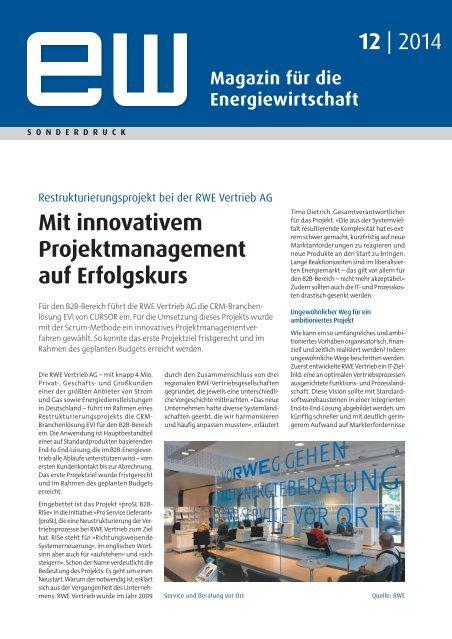 RWE Vertrieb AG, innovatives Projektmanagement, Referenzbericht, ew 12-2014