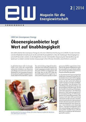 Greenpeace Energy, Referenzbericht, ew 02-2014