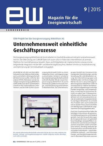 Energieversorgung Mittelrhein AG (evm), Referenzbericht, ew 9-2015