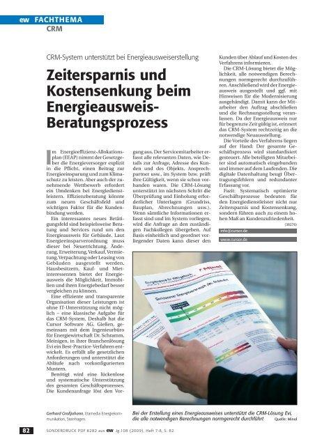 CRM-System unterstützt bei Energieausweiserstellung, ew 7/8-2009