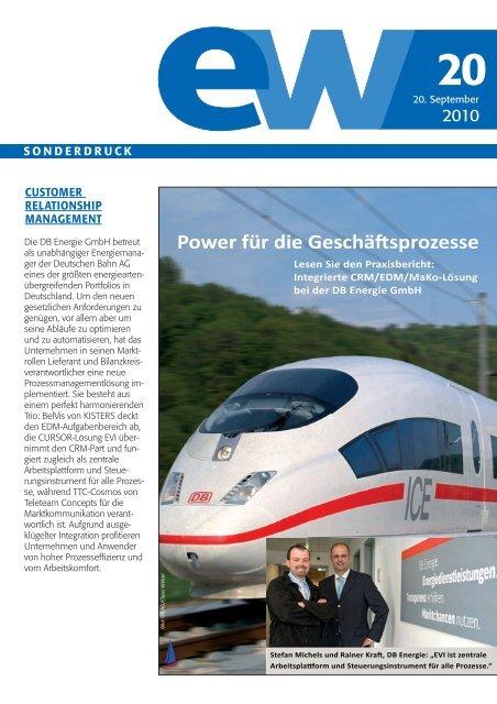 DB Energie GmbH, Referenzbericht, ew 20-2010
