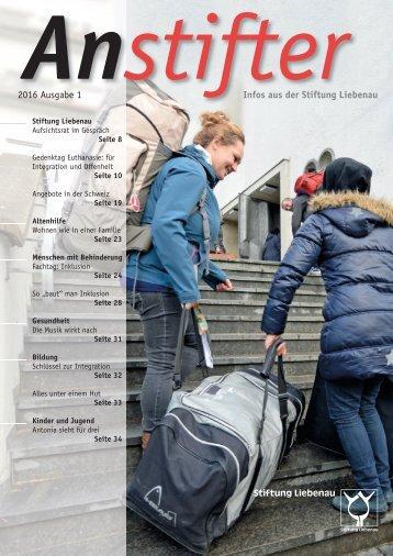 Anstifter 1, 2016 der Stiftung Liebenau