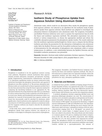Research Article Isotherm Study of Phosphorus Uptake from ...