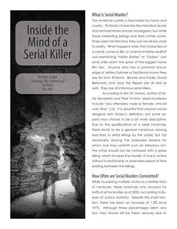 Murderers: Sociology / Criminology