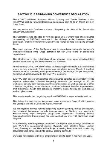 SACTWU 2016 BARGAINING CONFERENCE DECLARATION
