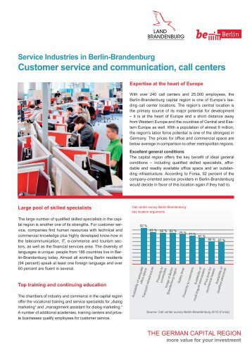 Service Industries in Berlin-Brandenburg: Call Centers