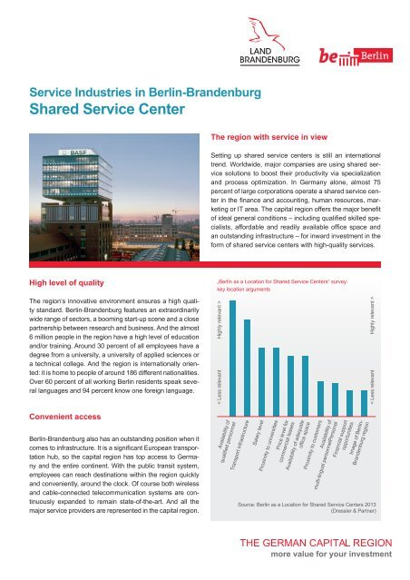 Service Industries in Berlin: Shared Service Center