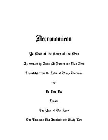 Necronomicon: The Book of the Laws of the Dead (plain/text)