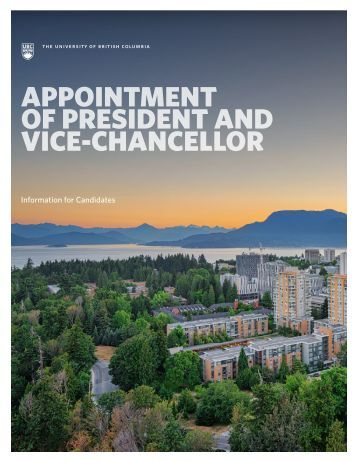 APPOINTMENT OF PRESIDENT AND VICE-CHANCELLOR