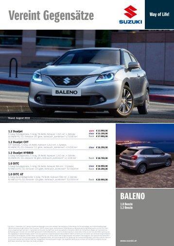 BALENO Preis- und Ausstattungsliste