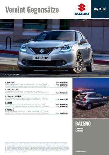 BALENO Preis-, Ausstattung und technische Daten