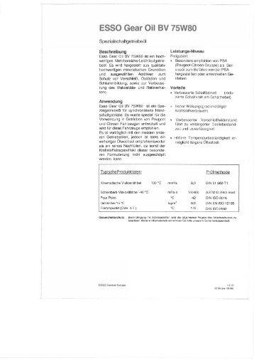 Esso Gear Oil BV 75W-80