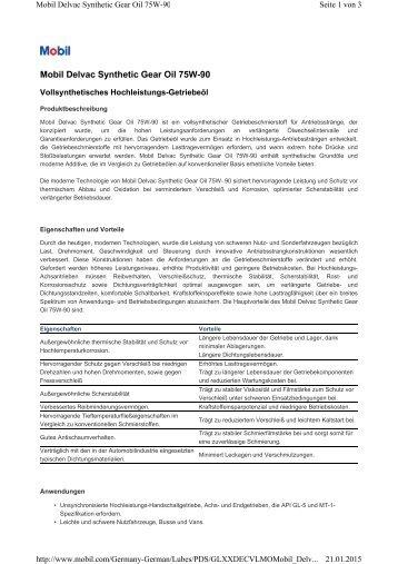 Delvac Synthetic Gear Oil 75W-90