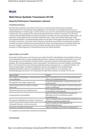 Delvac Synthetic Transmission Oil V30