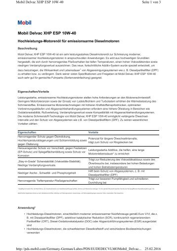 PDS DELVAC XHP ESP 10W-40-GERMAN