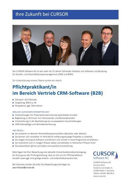 Pflichtpraktikant/in im Bereich Vertrieb CRM-Software (B2B)