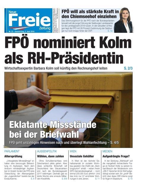 FPÖ nominiert Kolm als RH-Präsidentin