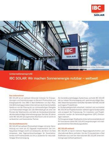 Firmenprofil IBC SOLAR - Wir machen Sonnenenergie weltweit nutzbar