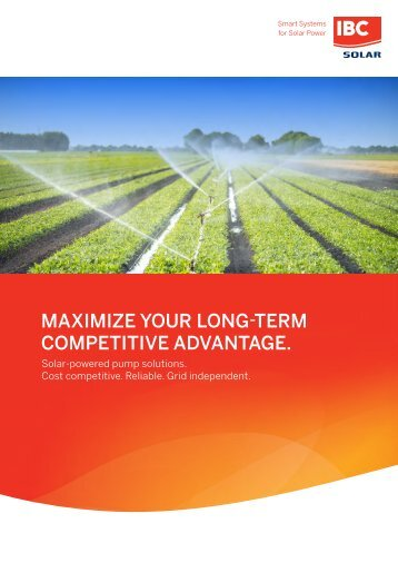 Solar-powered pump solutions maximize your long-term competitive adavantage