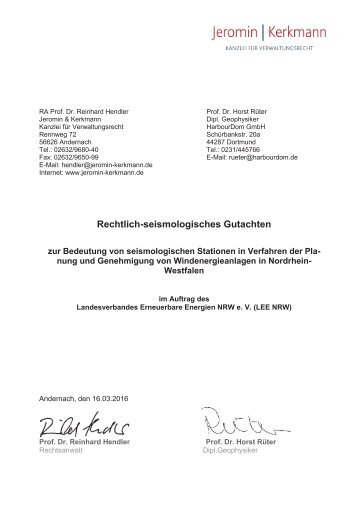 Rechtl-seismologisches Gutachten Endfassung zur Bedeutung von seismologischen Statioinen in Verfahren der Planung und Genehmigung von WEA in NRW