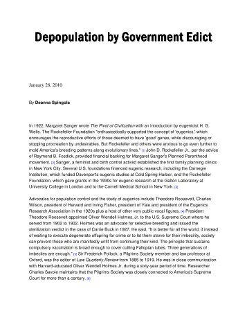 Depopulation By Government Edict