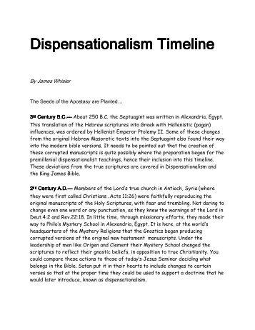 Dispensationalism Timeline