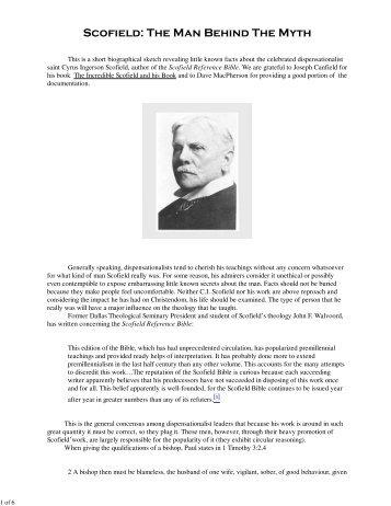 Scofield - The Man Behind The Myth