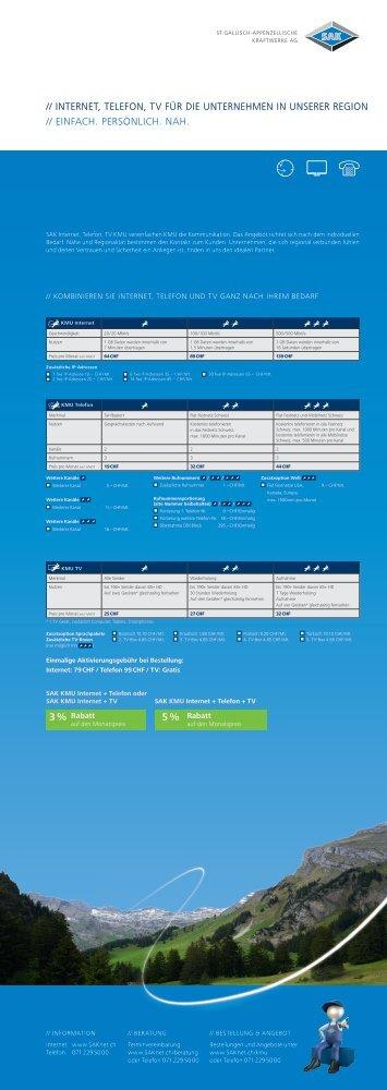Angebot SAK Internet, Telefon und TV für KMU