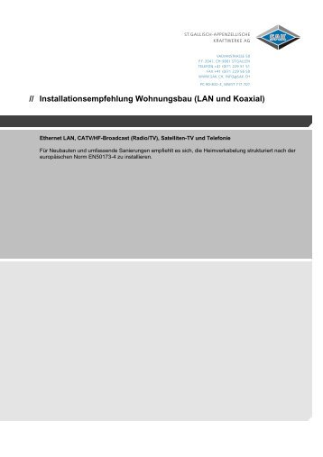 Installationsempfehlung Wohnungsbau (LAN und Koaxial)