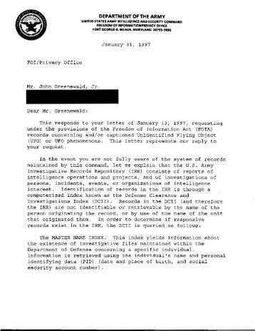 Army UFO Files