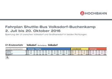 Fahrplan: Ersatzverkehr mit einem Shuttle-Bus zwischen Volksdorf und Buchenkamp