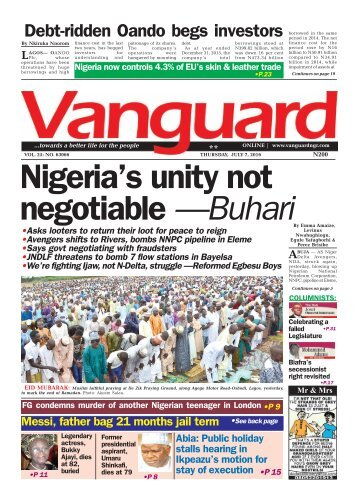 Nigeria's unity not negotiable —Buhari