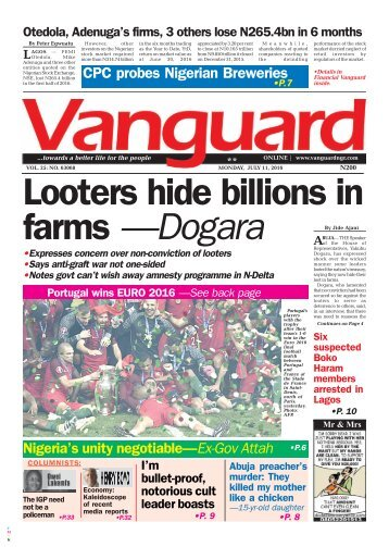 Looters hide billions in farms - Dogara